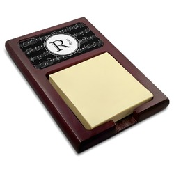 Musical Notes Red Mahogany Sticky Note Holder (Personalized)