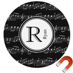 Musical Notes Round Car Magnet (Personalized)