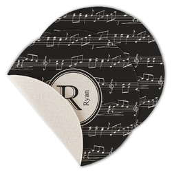 Musical Notes Round Linen Placemat (Personalized)