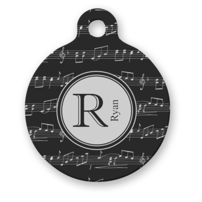 Musical Notes Round Pet ID Tag (Personalized)