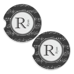 Musical Notes Sandstone Car Coasters - Set of 2 (Personalized)