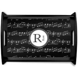 Musical Notes Black Wooden Tray (Personalized)