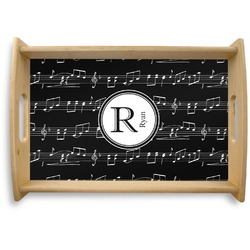 Musical Notes Natural Wooden Tray - Small (Personalized)