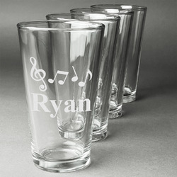 Musical Notes Beer Glasses (Set of 4) (Personalized)