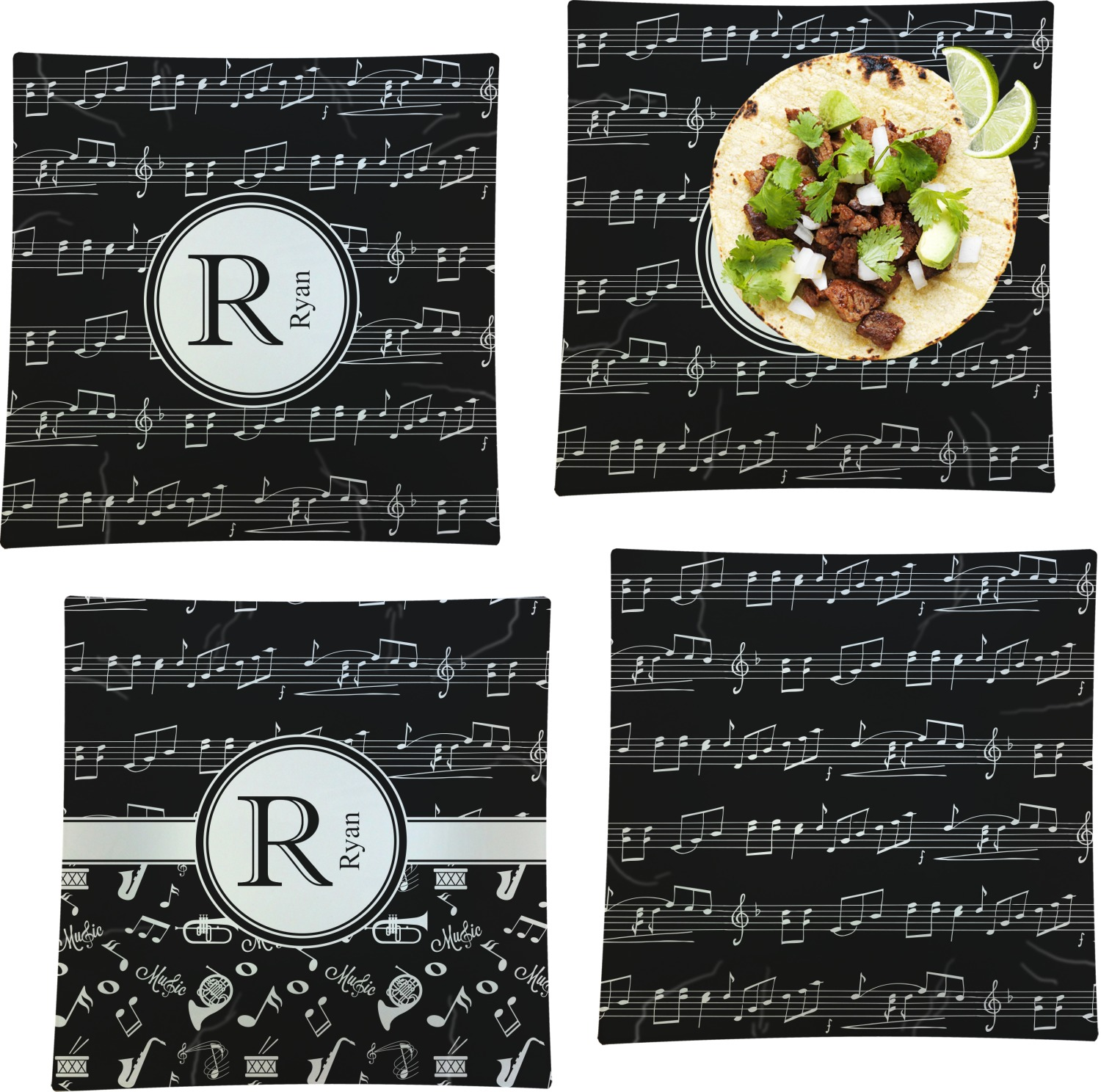 Musical Notes Square Dinner Plate Personalized