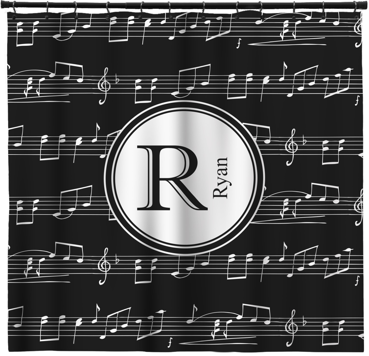 Musical Notes Shower Curtain Personalized