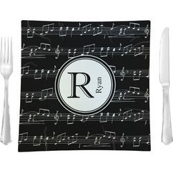 """Musical Notes 9.5"""" Glass Square Lunch / Dinner Plate- Single or Set of 4 (Personalized)"""