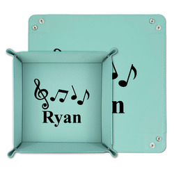 Musical Notes Teal Faux Leather Valet Tray (Personalized)