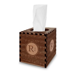 Musical Notes Wooden Tissue Box Cover - Square (Personalized)