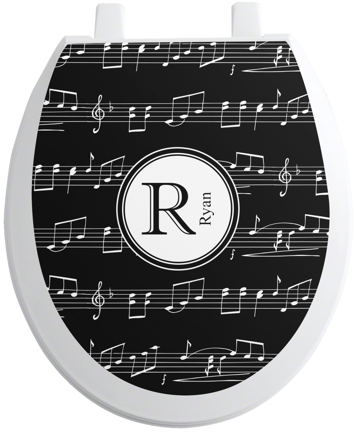 musical notes toilet seat decal elongated personalized. Black Bedroom Furniture Sets. Home Design Ideas