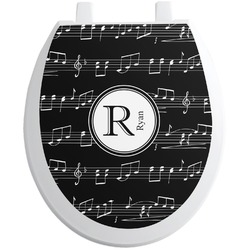 Musical Notes Toilet Seat Decal - Round (Personalized)