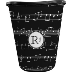 Musical Notes Waste Basket - Double Sided (Black) (Personalized)
