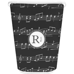 Musical Notes Waste Basket - Single Sided (White) (Personalized)