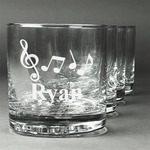 Musical Notes Whiskey Glasses (Set of 4) (Personalized)