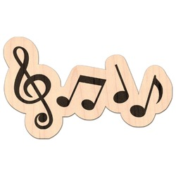 Musical Notes Genuine Maple or Cherry Wood Sticker (Personalized)