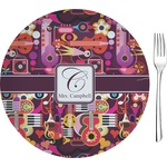 """Abstract Music Glass Appetizer / Dessert Plates 8"""" - Single or Set (Personalized)"""