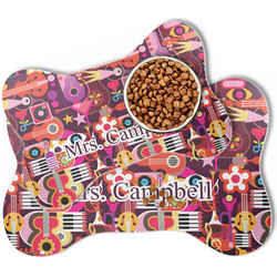 Abstract Music Bone Shaped Dog Food Mat (Personalized)