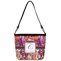 Abstract Music Bucket Bag w/ Genuine Leather Trim (Personalized)