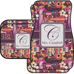 Abstract Music Car Floor Mats Set - 2 Front & 2 Back (Personalized)