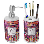 Abstract Music Bathroom Accessories Set (Ceramic) (Personalized)
