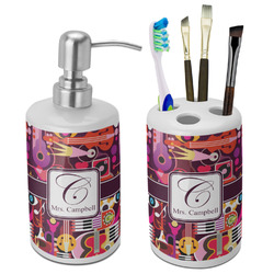 Abstract Music Ceramic Bathroom Accessories Set (Personalized)