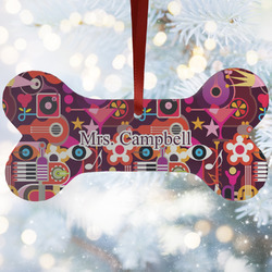 Abstract Music Ceramic Dog Ornaments w/ Name and Initial