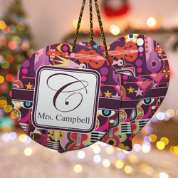Abstract Music Ceramic Ornament - Double Sided w/ Name and Initial