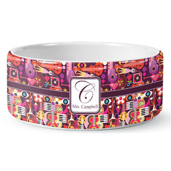 Abstract Music Ceramic Dog Bowl (Personalized)