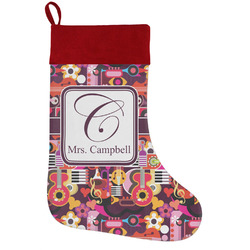 Abstract Music Holiday Stocking w/ Name and Initial