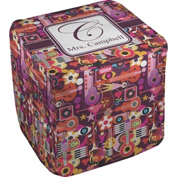 Abstract Music Cube Pouf Ottoman (Personalized)
