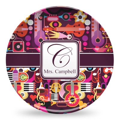 Abstract Music Microwave Safe Plastic Plate - Composite Polymer (Personalized)