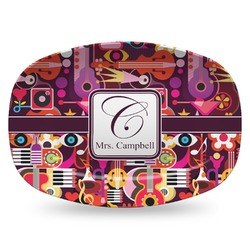 Abstract Music Plastic Platter - Microwave & Oven Safe Composite Polymer (Personalized)