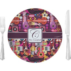 "Abstract Music 10"" Glass Lunch / Dinner Plates - Single or Set (Personalized)"