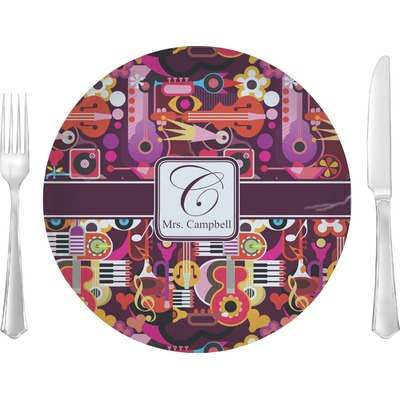 """Abstract Music 10"""" Glass Lunch / Dinner Plates - Single or Set (Personalized)"""