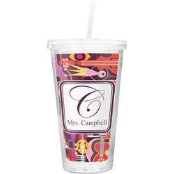 Abstract Music Double Wall Tumbler with Straw (Personalized)