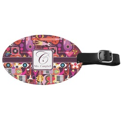Abstract Music Genuine Leather Oval Luggage Tag (Personalized)