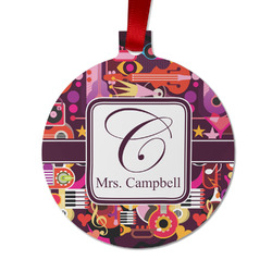 Abstract Music Metal Ornaments - Double Sided w/ Name and Initial