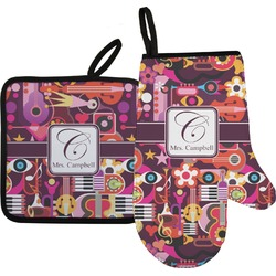 Abstract Music Oven Mitt & Pot Holder (Personalized)