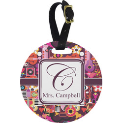 Abstract Music Round Luggage Tag (Personalized)