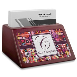 Abstract Music Red Mahogany Business Card Holder (Personalized)