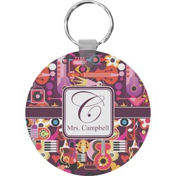 Abstract Music Round Keychain (Personalized)