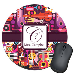 Abstract Music Round Mouse Pad (Personalized)