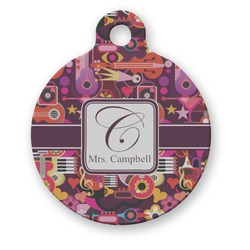 Abstract Music Round Pet Tag (Personalized)