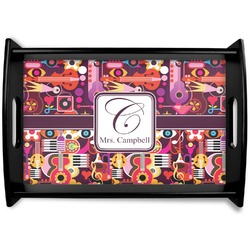 Abstract Music Black Wooden Tray (Personalized)
