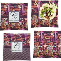 """Abstract Music Set of 4 Glass Square Lunch / Dinner Plate 9.5"""" (Personalized)"""