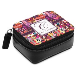 Abstract Music Small Leatherette Travel Pill Case (Personalized)