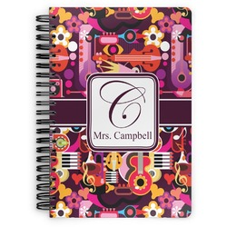 Abstract Music Spiral Bound Notebook (Personalized)