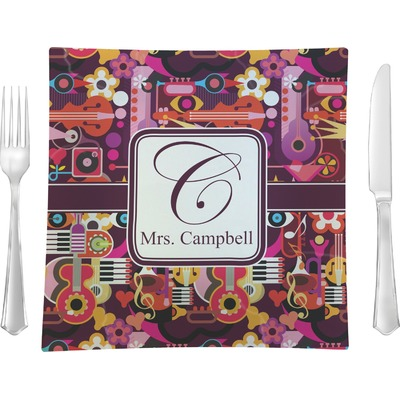 """Abstract Music 9.5"""" Glass Square Lunch / Dinner Plate- Single or Set of 4 (Personalized)"""