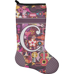 Abstract Music Christmas Stocking - Neoprene (Personalized)