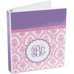 Pink, White & Purple Damask 3-Ring Binder (Personalized)